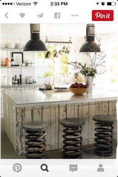 repurposed kitchen stools from old truck springs/ I want a real rustic kitchen! Rustic Kitchen Design, Eclectic Kitchen, Kitchen Designs, Country Kitchen, Vintage Kitchen, Vintage Bar, Country Life, Vintage Decor, French Vintage