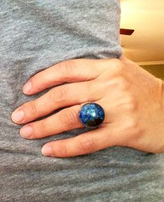 Melted Sea Glass silver plated adjustable ring  on Etsy, $22.00