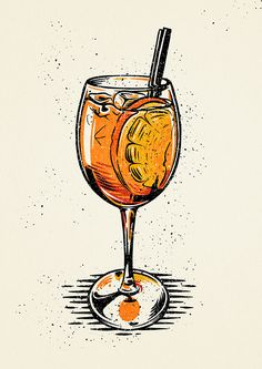 Cocktails on Behance Menu Illustration, Cocktail Illustration, Food Illustrations, Digital Illustration, Aperol, Cocktail Book, Cocktail Glass, Cocktail Menu, Cocktails Drawing