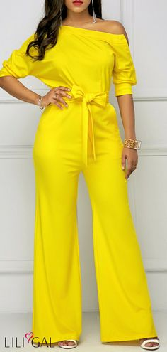 15745784005 Half Sleeve Belted Skew Neck Yellow Jumpsuit  liligal  jumpsuits   womenswear  womensfashion