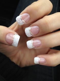 Newest gel nails! White glitter French manicure with champagne line.