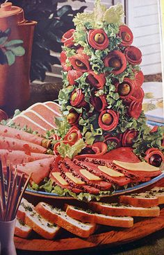 Charcuterie tower #retro #vintage #food #creepy #weird - Carefully selected by GORGONIA www.gorgonia.it