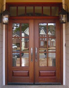 Could be single or double Craftsman style front door (wood or white)