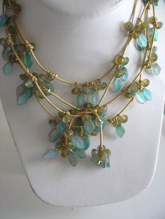 Frosted Glass Leaf and Glass Bead Lariat On by JulieADesigns, $140.00