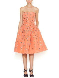 Silk Faille Embellished Strapless Dress by Oscar de la Renta at Gilt