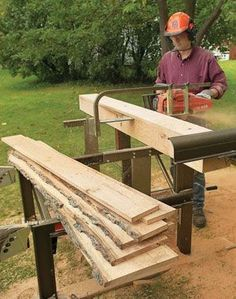 Backyard Sawmills We all love wood, whether it's a wide clear board or a gnarly slab with wild grain. That's why sawing our own lumber crosses the minds of most woodworkers. It might be inspired by the sight of a big tree blown down by a storm, a custom tabletop made from only one or two slabs of unusual wood or the thought of free wood. Whatever reason, the idea …