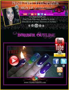Border Outline Color Fusion Nail Art ~ FREE Tutorials here by Jennifer Perez of Mystic Nails