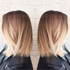 Straight Long Bob Haircut - Blunt Medium Hairstyles, Blonde Ombre Hair Style