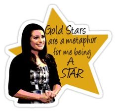 'Gold stars are important' Sticker by kittykarnstein Tumblr Stickers, Phone Stickers, Planner Stickers, Gold Star Stickers, Glee Quotes, Glee Cast, Aesthetic Stickers, Friends Tv Show, Gold Stars