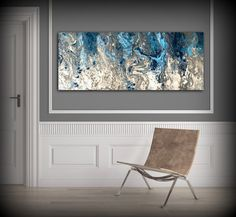 Large Abstract Painting Print Navy Blue Print Art by LDawningScott