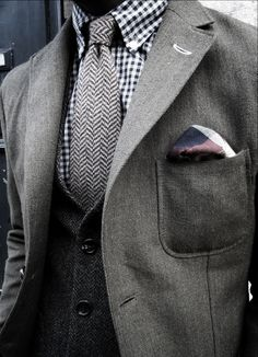 Gray on gray. Vest. Textures. Button down collar. Check Pattern. Patch pocket.