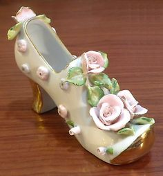 Charming Porcelain Shoe with Roses, leaves and Lavish Gold Trim