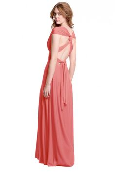 Sakura Peach Pink Coral Maxi Convertible Dress - Sakura - Convertible Dresses - Shop ConvertiStyle