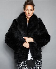 $1,645, Black Fur Jacket: The Fur Vault Fox Fur Lapel Collar Jacket. Sold by Macy's. Click for more info: https://lookastic.com/women/shop_items/278539/redirect
