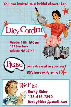 retro housewife diy printable invitation 3000 via etsy 1950s bridal shower