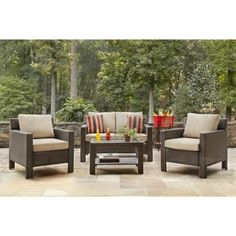 Beige Modern 4 Piece Steel Patio Deep Seating Cushion Conversation Set   Perfect Contemporary All Weather Resin 1 Loveseat, 2 Lounge Chairs and a Glass Top Coffee Table Furniture Set for Your Home Outdoors by the BBQ Grill, Gazebo, Garden or Firepit *** You can get additional details at the image link. (This is an affiliate link) #PatioFurniture