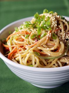 We love sesame noodles as a quick and delicious side dish with dinner.  Must try this recipe.