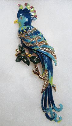 Vintage Coro Bird Of Paradise Enamel and Rhinestone Fur Clip by Mylokoville, $150.00