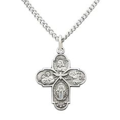 """Rosemarie Collections Religious Gift Small Four Way Cross Pendant Necklace 18"""""""