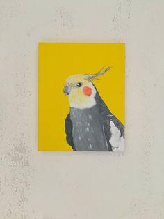 Original acrylic painting Animal Cockatiel Wall art