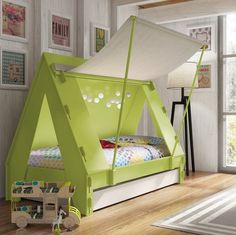 This awesome Children's Tent Cabin Bed is the perfect centerpiece in any kids bedroom and will create a wonderful adventure scene. It can be used as an enclosed bed or the cloth side wall can open up into a canopy which is held up by 2 poles. - fancy.com