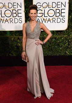 Kate Beckinsale wore Elie Saab for the 2015 Golden Globe Awards. See more stars on Wonderwall: http://bit.ly/1tXJn4N