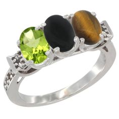 14K White Gold Natural Peridot, Black Onyx and Tiger Eye Ring 3-Stone Oval 7x5 mm Diamond Accent, sizes 5 - 10 -- For more information, visit now : Jewelry Ring Bands