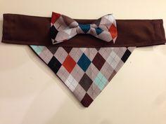 My friend makes these adorable doggie bandanas!! Go buy one!!  Dog+Bandana++Argyle+Print+with+Bow+by+SpottedDogShop+on+Etsy,+$9.95