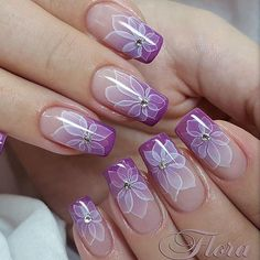 >>>Visit>> How To Do Ombre Nails With Purple Floral Art ❤️ Everyone knows how to ombre nails these days right? But we know how to take the regular ombre to the next level.Amazing Ideas How To Ombre Nails For Your InspirationWhen it comes to how Purple Nail Art, Purple Nail Designs, Pretty Nail Art, Cute Nail Designs, Cute Acrylic Nails, Fun Nails, Nagellack Design, Flower Nail Art, Super Nails