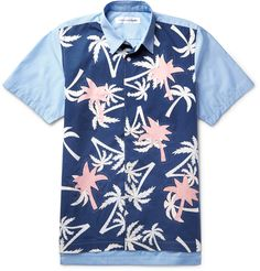 Comme des Garcons SHIRT - Panelled Printed Cotton-Poplin Shirt