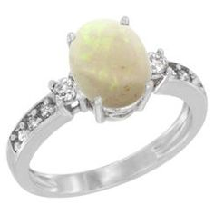 Sabrina Silver 14K White Gold Natural Opal Ring Oval 9x7 mm Diamond Accent  sizes 5 - 10