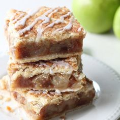 Apple Pie Bars with a fresh apple filling, homemade double crust, and sweet vanilla glaze!