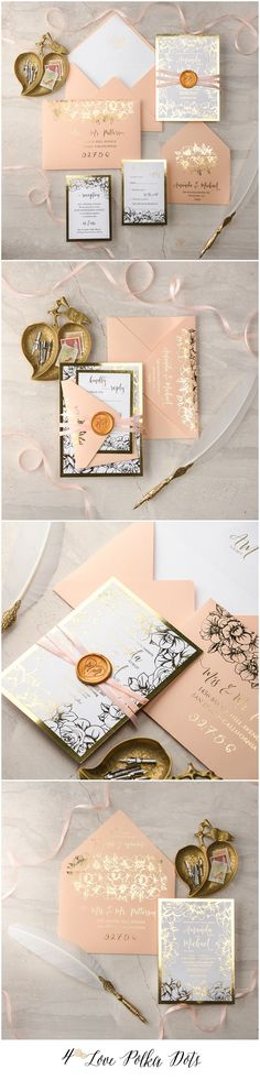 Peach & Gold glamorous Wedding Invitations #shiny #gold #peach #weddingideas #weddinginvitations #blush #romantic #elegant #goldfoil