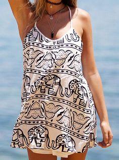 Sexy Spaghetti Strap Sleeveless Low Cut Printed Women's Sundress #Summer #Sexy #Fashion #Print #Women