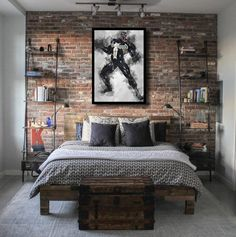 43 New Ideas For Decor Industrial Bedroom Exposed Brick Walls Brick Wallpaper Bedroom, Brick Wall Bedroom, Brick Accent Walls, Faux Brick Walls, Painted Brick Walls, Brick Loft, Industrial Bedroom Design, Industrial House, Industrial Loft Apartment
