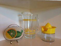 Lemonade glass pitcher citrus juicer and napkin holder lot lemons limes yellow on Etsy, $25.00 Citrus Juicer, Napkin Holders, Glass Pitchers, Limes, Lemon Lime, Lemonade, Napkins, Yellow, Unique Jewelry