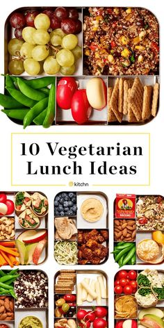 10 Easy Lunch Box Ideas for Vegetarians 10 Easy Lunch Box Ideas For Vegetarians — A Lunchbox for Everyone. Need recipes for make ahead lunches that are vegetarian? These healthy, easy, high protein boxes are quick and cheap to make. Great for kids, teens, Clean Eating Vegetarian, Easy Vegetarian Lunch, Clean Eating Snacks, Healthy Eating, High Protein Vegetarian Meals, Vegetarian Recipes For Kids, High Protein Lunch Ideas, Vegetable Recipes, Vegetarian Italian