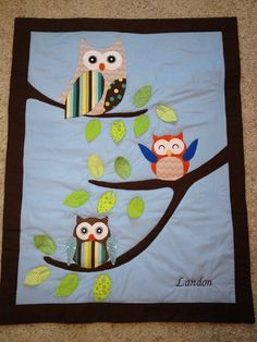 Owl Quilt for a baby shower.