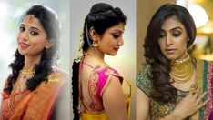 Hair style with saree for wedding party South Indian Wedding Hairstyles, Cute Wedding Hairstyles, Elegant Hairstyles, Indian Hairstyles, Party Hairstyle, Woman Hairstyles, Beautiful Hairstyles, Saree Hairstyles, Bandana Hairstyles