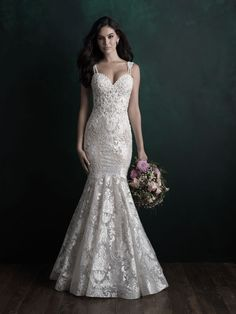 Allure Bridals Couture Allure Bridal Gown pictured with lining. Dual beaded straps, with a touch of applique, embellish this intricately detailed gown. Allure Couture, Couture Wedding Gowns, Bridal Gowns, Couture Bridal, Vows Bridal, Bridal Salon, Bridal Gallery, Wedding Dress Pictures, Dress Out