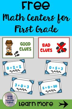 Are you looking for free math centers to enhance your first grade math instruction? Activities for addition & subtraction strategies, counting, modeling numbers, comparing numbers, and more are available for FREE- click to choose your downloads today! #firstgrade #math #freeteachingresources