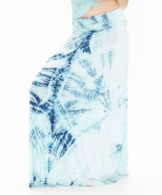 This Seafoam & Blueberry Tie-Dye Maxi Skirt by Emotion Apparel is perfect! #zulilyfinds