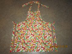Yellow, Orange, Red & Green Peppers on White Cotton (orange marble backing-no pockets) - Adult Sized Apron Sale 10% Off* by ShawnasSpecialties on Etsy