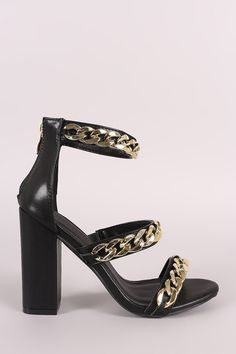 Liliana Triple Chunky-Chain Straps Open Toe Block Heel