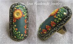 Polymer clay jewelry - Lena Handmade Jewelry Flower of Fire - Handmade polymer clay ring