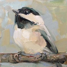 4 x 4 Inch, Chickadee Original Oil Painting, Smell of Spring, Chickadee and Easel, Under 50 dollars Art, Brande Arno Art, Perching Chickadee by OffTheWallPaintings on Etsy