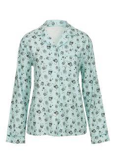 owl print flannel shirt