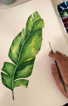 Flower Art Drawing, Leaf Drawing, Plant Drawing, Watercolor Plants, Watercolor Leaves, Watercolour, Watercolor Paintings, Leaf Wall Art, Leaf Art