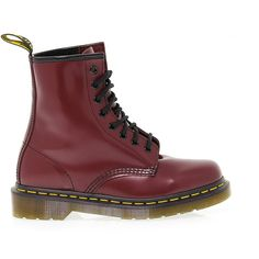 Dr Martens Low Boots ($160) ❤ liked on Polyvore featuring shoes, boots, ankle booties, short heel booties, low heel booties, red platform booties, red boots and red booties