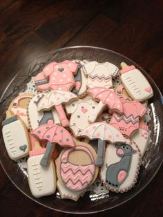 Baby Shower Cookies - Cookie Platter with Umbrella, Purse, Onesies and Baby Bottle